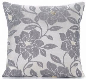 "CHENILLE VELVET SILVER PEONY FLOWER LINEN MIX 18"" CUSHION COVER £5.35 EACH"
